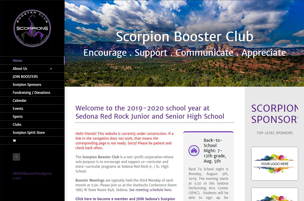 Booster Club and PTA Websites